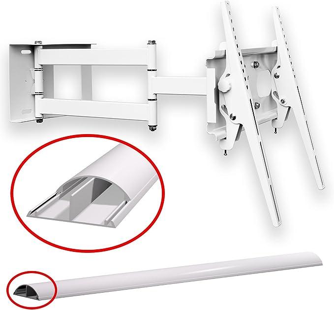 Soporte de pared de (blanco) TV Colour Blanco Universal Schwenkbar Neigbar Plasma LCD LED Wandhalter TV halter para TV de hasta 165 cm (65 pulgadas) con VESA de 100 x 100 a