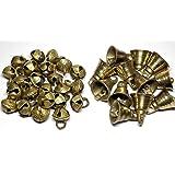 AzKrafts Pack of 40 Brass Bells, 20 Sleigh Bells + 20 Regular Bells, Unique Combo - Small Indian Brass Bells & Jingle Bells f