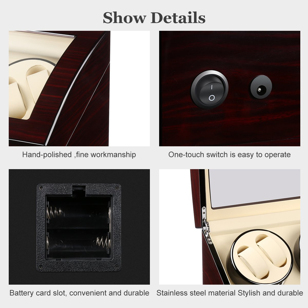 CRITIRON 4+6 Automatic Watch Winder Luxury Storage Case Rotating Display Box, Wood Shell with Piano Paint (Brown+White) by CRITIRON (Image #4)