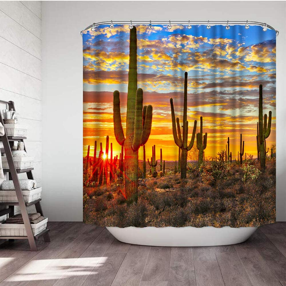VividHome Cactus Fabric Shower Curtains Western Landscape Sunset Desert Cactus Waterproof Bathroom Decor Sets with Hooks 72 W x 72 L Inches