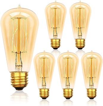 6-Pack Edison Light Bulb 60 Watt, Jslinter Dimmable ST58 Antique Vintage Style Light, Amber Warm Decorative Incandescent Light Bulbs