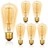 6-Pack Edison Light Bulb 60 Watt, Jslinter Dimmable ST58 Antique Vintage Style Light, Amber Warm Decorative Incandescent Light Bulbs
