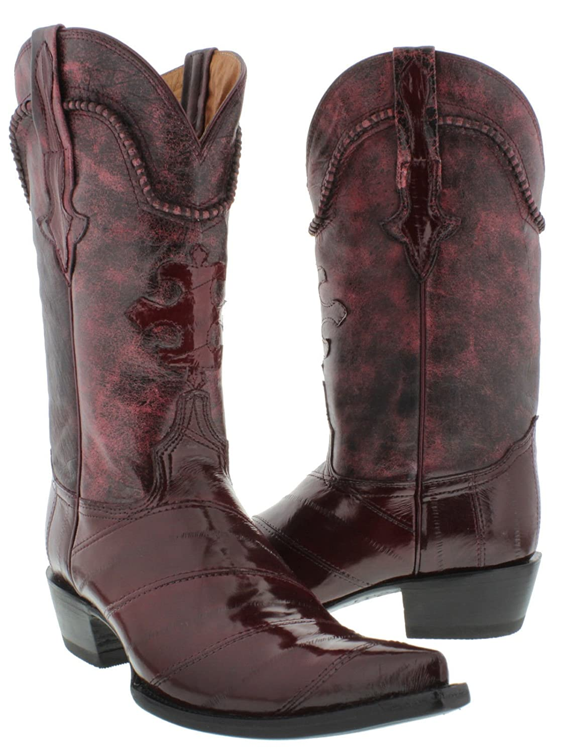 Cowboy Professional - Men's Burgundy Genuine EEL Skin Leather Cowboy Boots 3X Toe