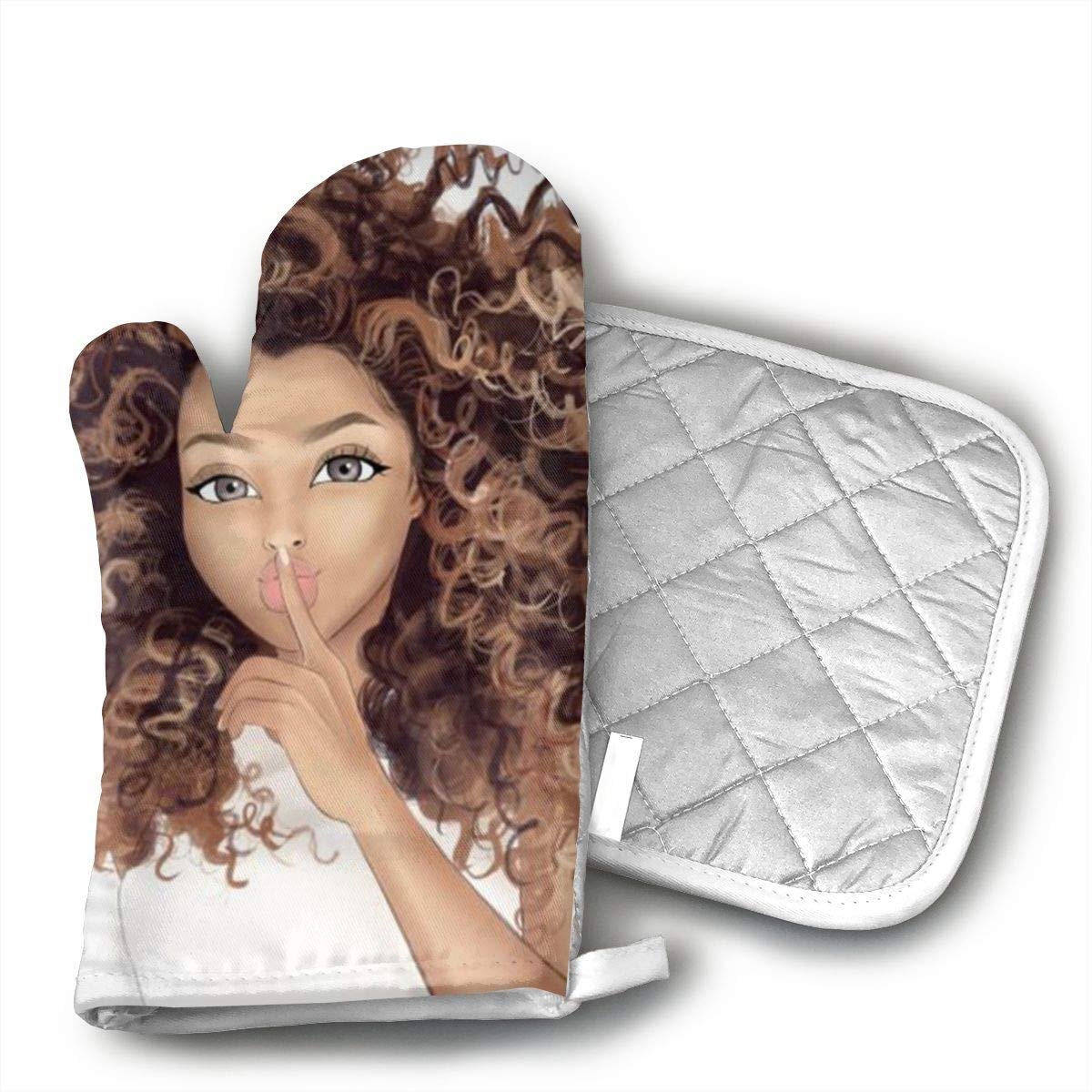 HGUIDHG African American Women Girl White T-Shirt Oven Mitts+Insulated Square Mat,Heat Resistant Kitchen Gloves Soft Insulated Deep Pockets, Non-Slip Handles