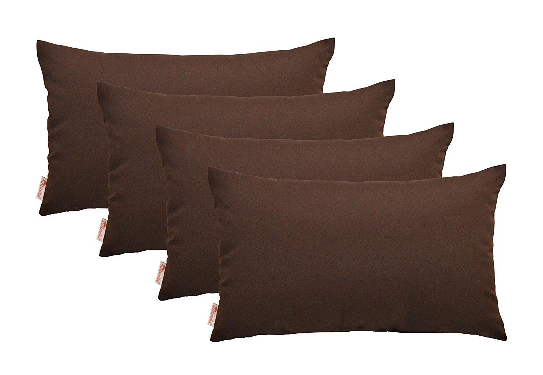 RSH Décor Set of 4 Indoor/Outdoor Decorative Throw Pillows Sunbrella Bay Brown - 12'' x 20''