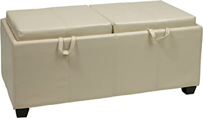 Office Star Metro Storage Ottoman Bench with Dual Trays/Seat Cushions in Eco Leather, Cream