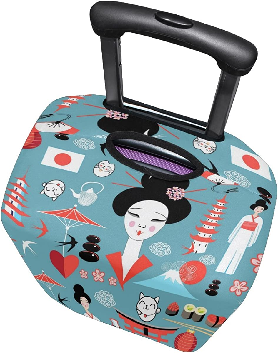 ALAZA Japanese Heart Women Fan Travel Luggage Cover Suitcase Cover Case