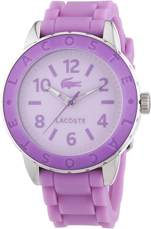 Lacoste 2000688 - Reloj analógico de Cuarzo para Mujer con Correa de Silicona, Color Morado