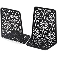 EasyPAG Book Ends Universal Premium Decorative Bookends for Shelves Non-Skid Bookend Metal Book End Book Stopper for Books/Movies/CDs/Video Games -1 Pair, Black