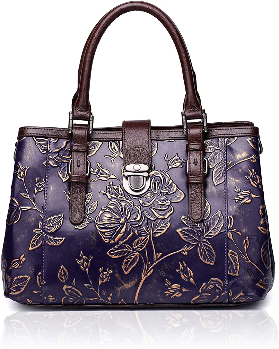 APHISON Designer Handbags for women Unique Embossed Floral Leather Tote Style Ladies Top Handle Bags C817