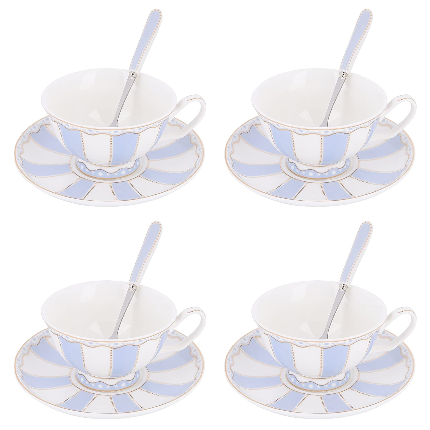 Artvigor 12-Pieces New Bone China Coffee Tea Set with Cup & Saucer & Spoon (Pink Stripe)