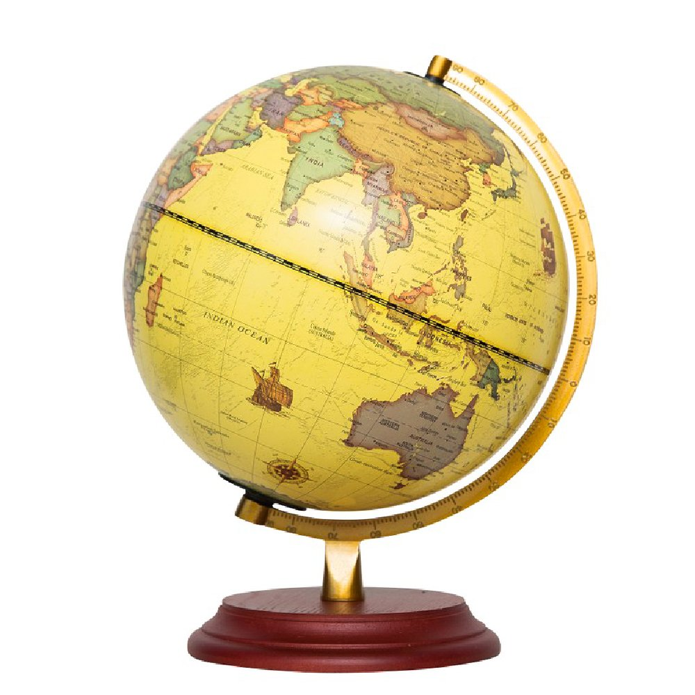 World Globe with A Wood Base, Rotating Large Tellurion (9''/22.8cm) with Stand, Kids Educational Learning, Antique Ocean Decorative Political Globe, World Map Office/Room/Home Decoration, Teaching,Vint