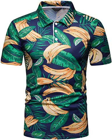 Sylar Polo Manga Corta para Hombre Casual Camisa Hawaiana para Hombre 3D Plátano Camiseta de Playa Slim Fit Camisetas Basicas Hombre con Botones: Amazon.es: Ropa y accesorios