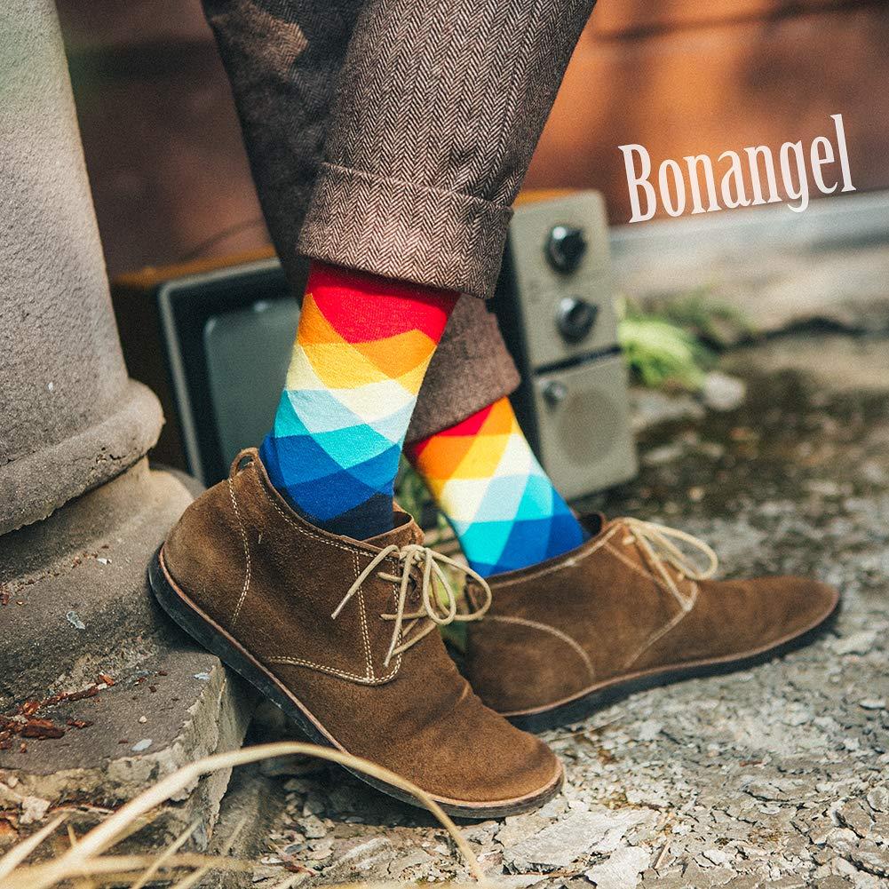 Bonangel Men\'s Fun Dress Socks - 10 Pairs Colorful Funny Novelty Crazy Crew Socks Packs with Cute Argyle Pattern (10 pairs-Mix 6)