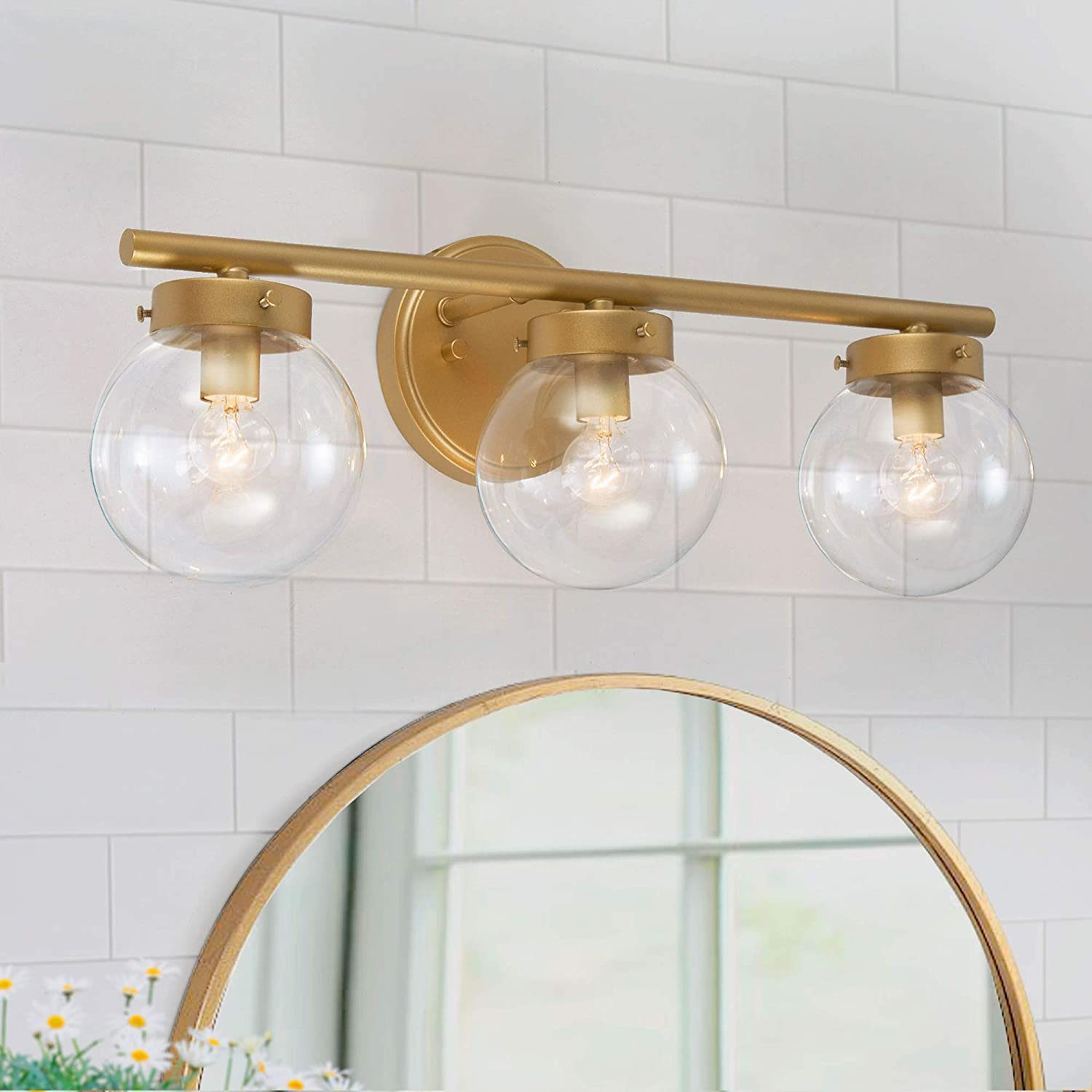 Bathroom Light Fixtures Gold Vanity Light With 3 Clear Globe Glass 19 5 L X6 W X 7 5 H Amazon Com