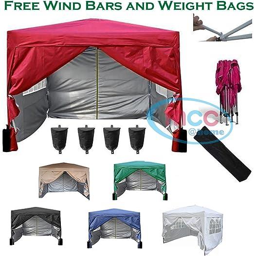 couleur rouge avec couche protectrice argent/ée 3x3m Mcc@home Gaz/ébo//kioske//pavillon// tente//tonnelle//auvent//abri de jardin r/ésistant /à l/'eau 2 barres pare-vent et sacs de lestage