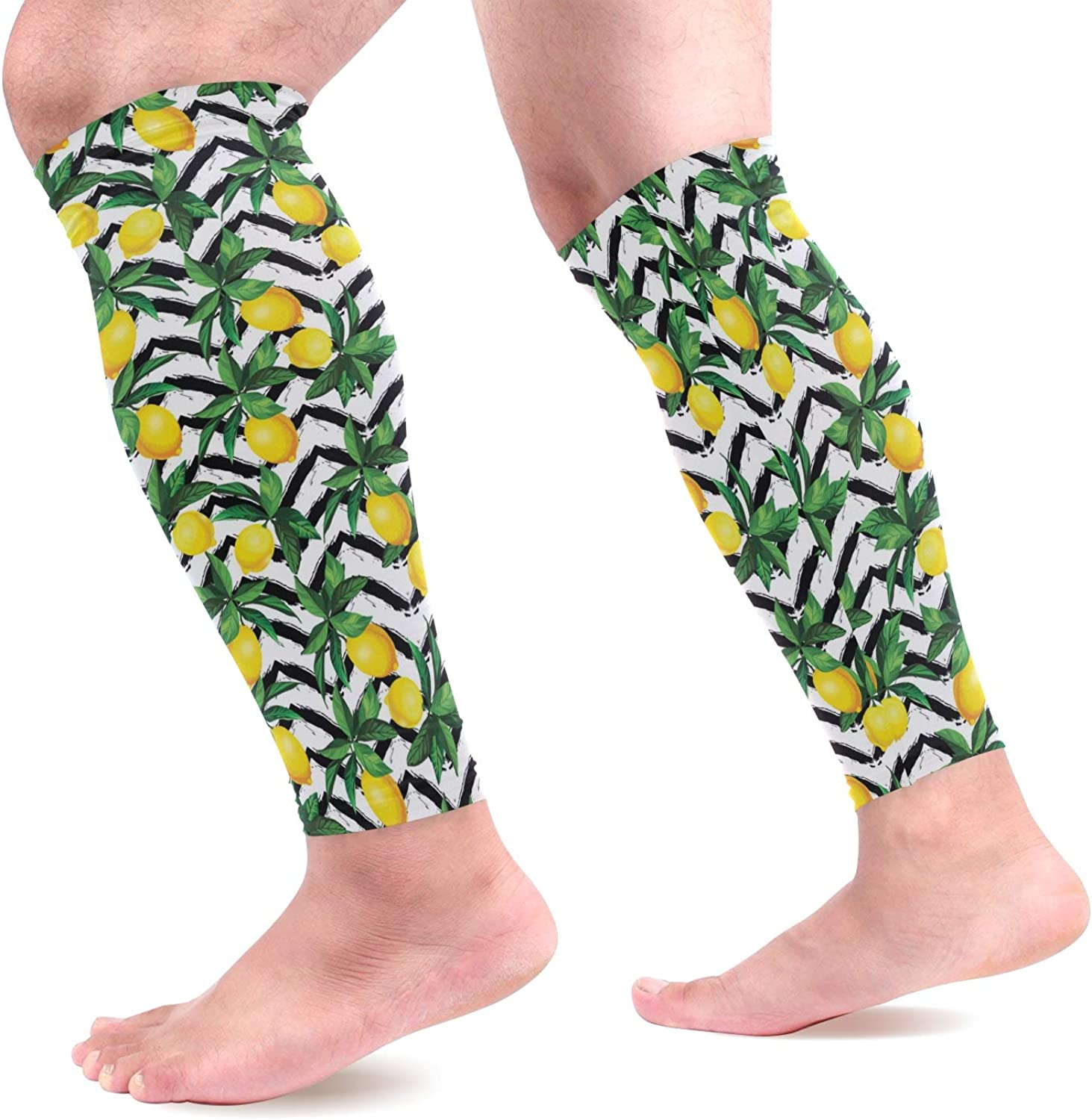 visesunny New Summer Creative Lemon Pattern Sports Calf Support Sleeves (1 Pair) for Muscle Pain Relief Improved Circulation Compression Effective Support for Running Jogging Workout