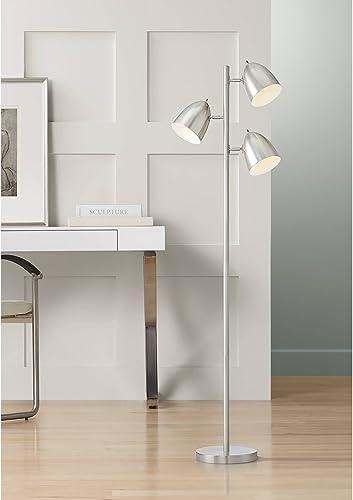 Aaron Modern Retro Floor Lamp 3-Light Tree Brushed Nickel Swivel Head