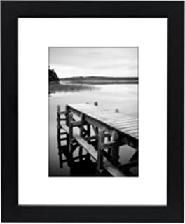 8x10 black picture frame made to display pictures 5x7 with mat or 8x10 without mat