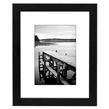 Americanflat 8x10 Black Picture Frame - Made to Display Pictures 5x7 with Mat or 8x10 Without Mat