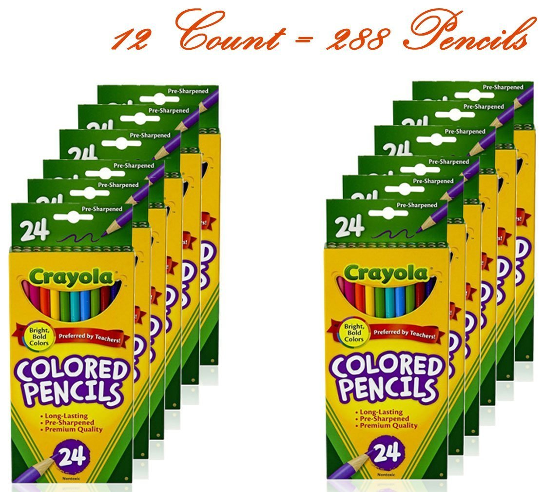 Amazon.com: Crayola Colored Pencils, Assorted Colors, 24 count (12 ...