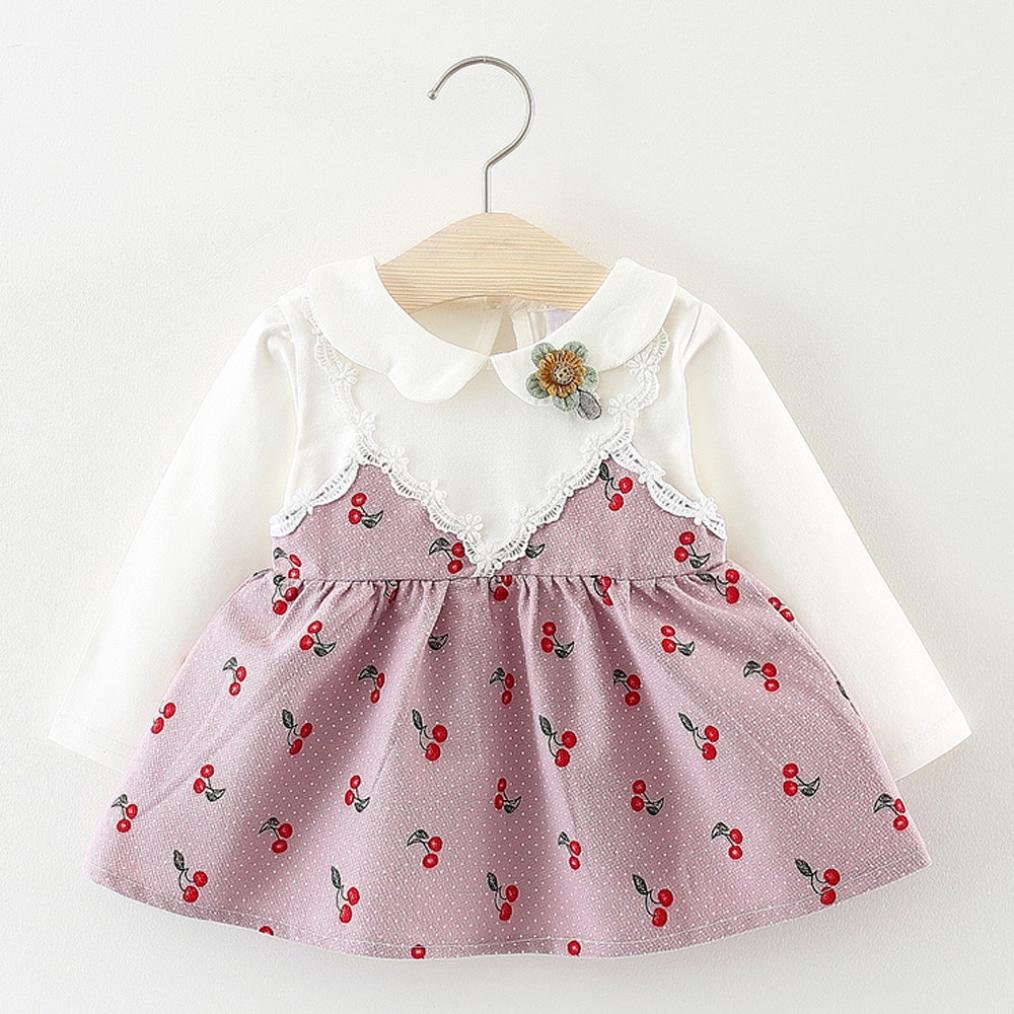 Vinjeely Toddler Baby Girls Long Sleeve Cherry Print Lapel Clothes Party Princess Dresses 0-24 Months