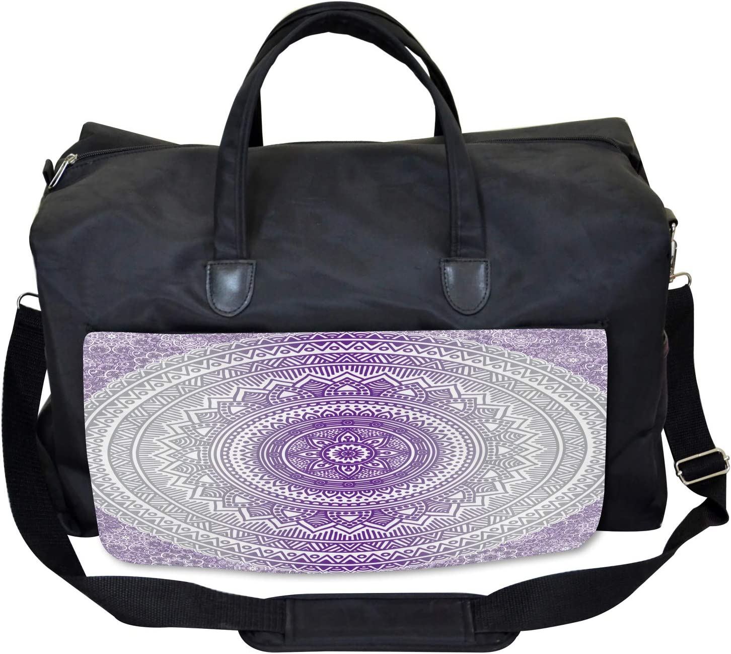Large Weekender Carry-on Zen Boho Ombre Ambesonne Grey and Purple Gym Bag