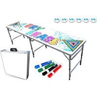 PartyPongTables.com 8-Foot Beer Pong Table w/Optional Cup Holes, LED Lights, Dry Erase Surface & More - Choose Your Table Model