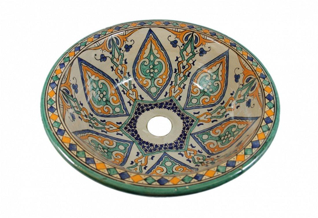 La Fes / Amir ceramica dipinta a mano marocchina il lavandino del bagno lavabo - Round, dipinta da dentro a fuori - di 40 H 16 cm