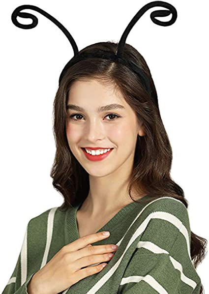 Quirky Curved Antenna Hairband Fairy Antennae With Gold Crystals Cosplay Ears Halloween Costume Accessory Black Butterfly Headband