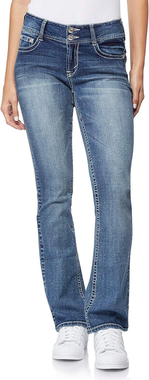 WallFlower Womens Juniors Luscious Curvy Bling Bootcut Jeans
