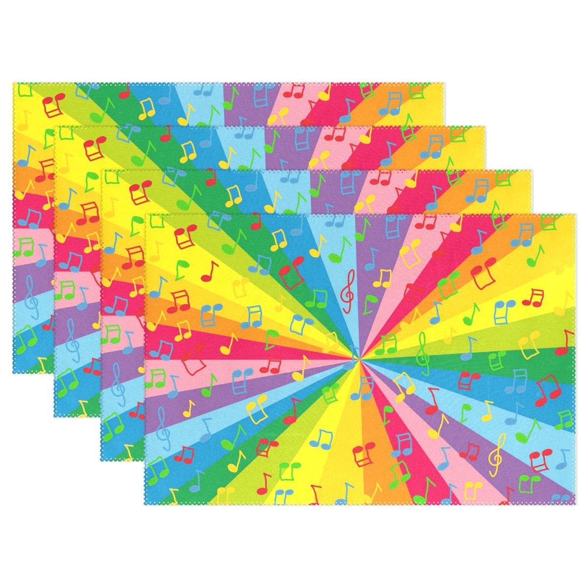 welllee音楽ノートカラフルなレインボープレースマットセットポリエステルプレートホルダーテーブルマットキッチンダイニングルーム用、12 x 18インチ 12 x 18 inch g1025003p145c160s236 1  B073TYFCR3
