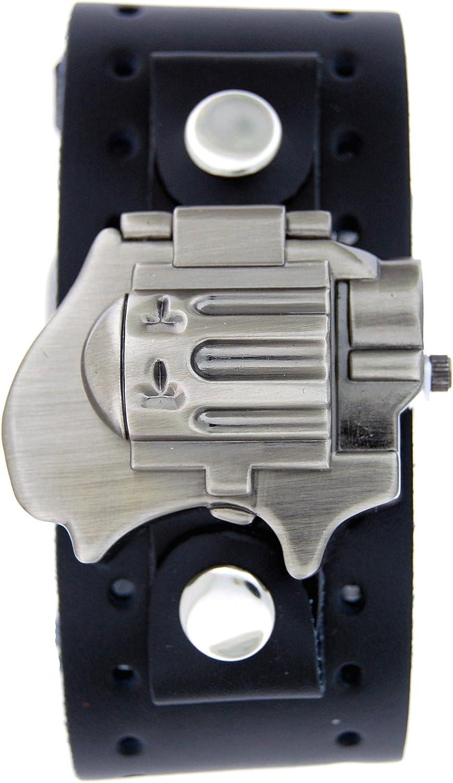 Biker Gun Flip Watch With Black Leather Cuff Band US-W0951