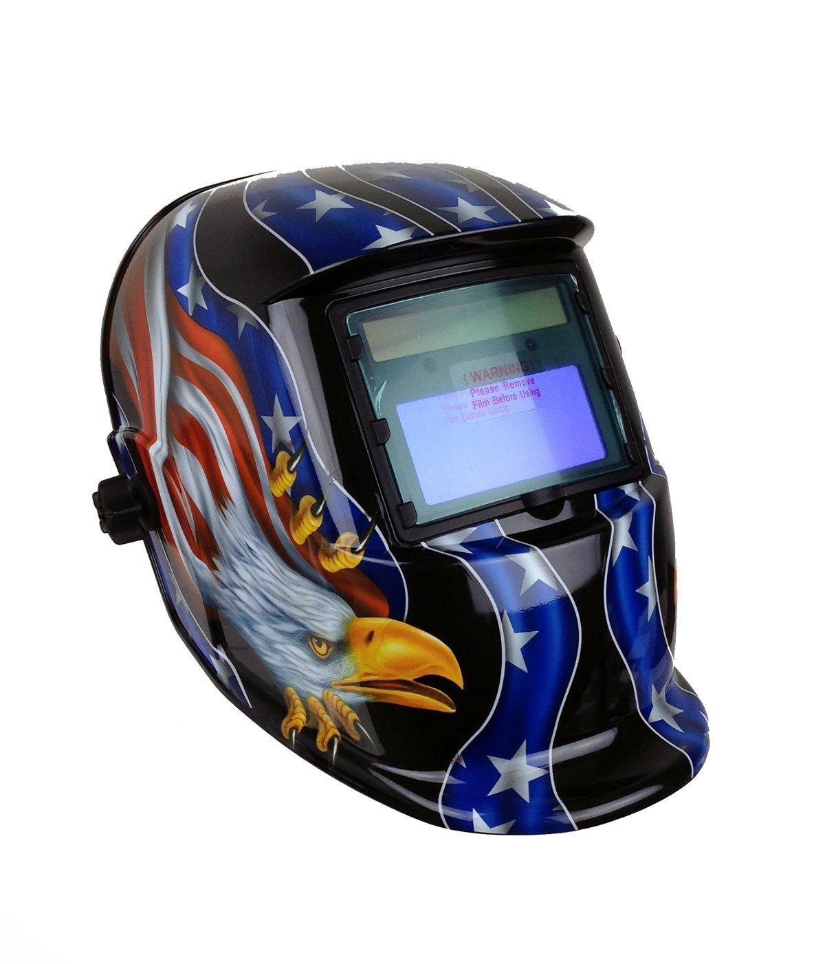 Instapark ADF Series GX 500S Solar Powered Auto Darkening Welding Helmet with Adjustable Shade Range #9 #13 American Eagle