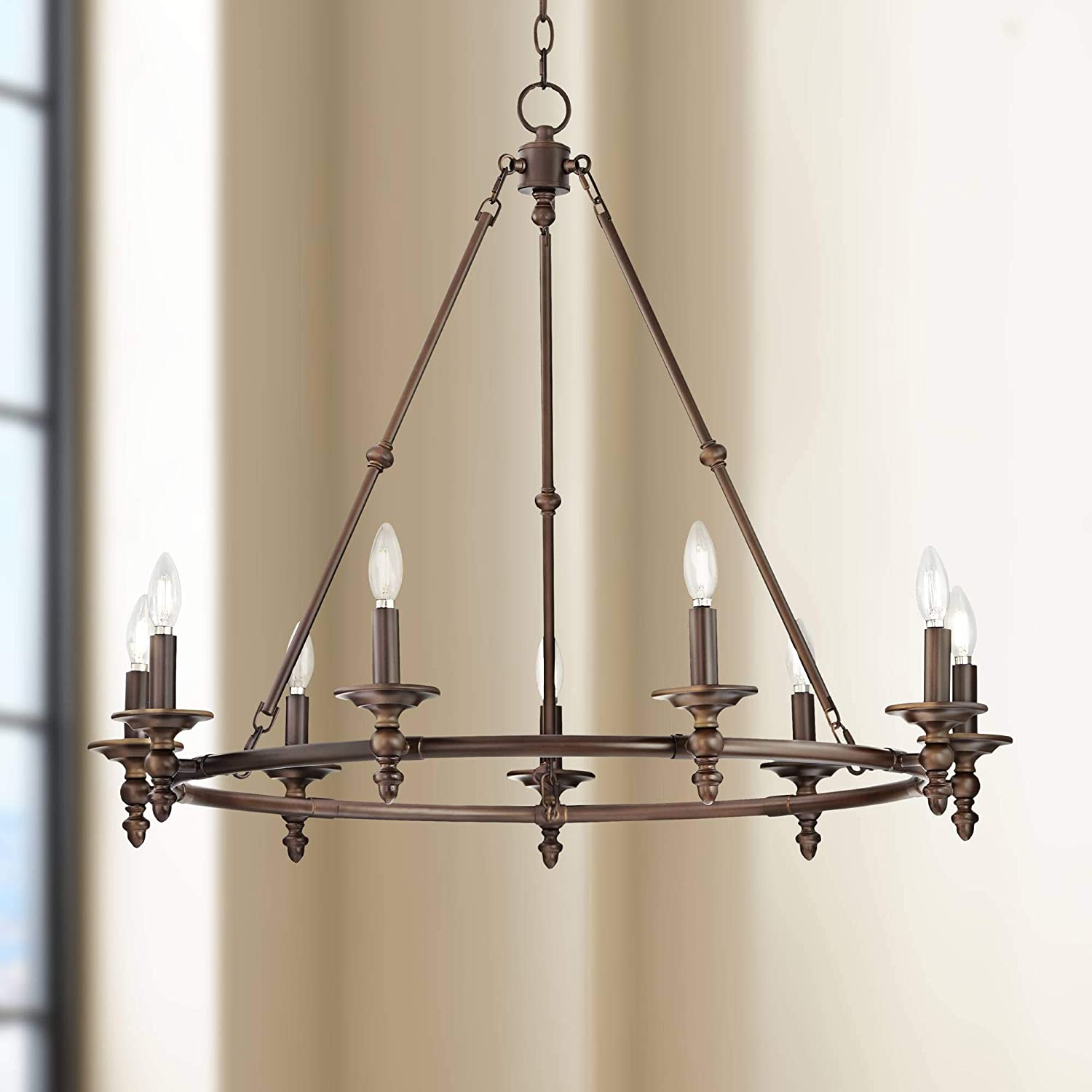 "Hartley Oil Rubbed Bronze Large Wagon Wheel Chandelier 35 1/2"" Wide Rustic Farmhouse 9-Light Fixture For Dining Room House Foyer Kitchen Island Entryway Bedroom Living Room - Franklin Iron Works"