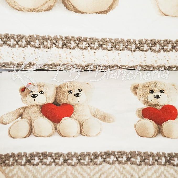 Prezioso Cotone Made in Italy Trama fitta Letto 1 Piazza e Mezza R.P Parure Copripiumino Sacco Orsetti Teddy Love