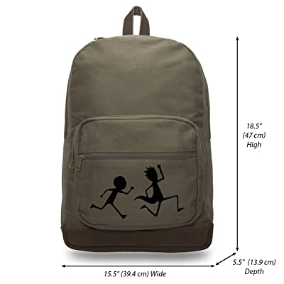 hot sale 2017 Rick and Morty Run Away Canvas Teardrop Backpack with Leather Bottom Accents