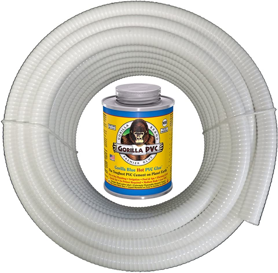 "HYDROMAXX (1"" Dia. x 100 ft) White Flexible PVC Pipe, Hose, Tubing for Pools, Spas and Water Gardens. Includes Free 4oz Can of Hot Blue PVC Gorilla Glue."