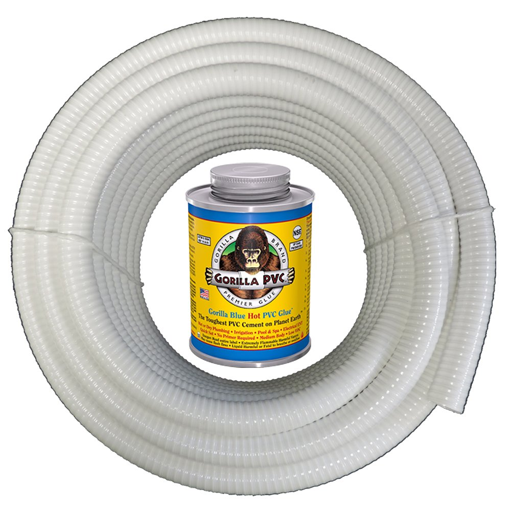 HydroMaxx White Flexible PVC Pipe, Hose, Tubing for Pools, Spas and Water Gardens. Includes Free 4oz Can of Hot Blue PVC Gorilla Glue. (1 1/2'' Dia. x 50 ft) by HydroMaxx