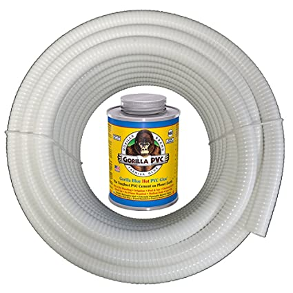 HydroMaxx White Flexible PVC Pipe, Hose, Tubing for Pools, Spas and Water  Gardens  Includes Free 4oz Can of Hot Blue PVC Gorilla Glue  (2