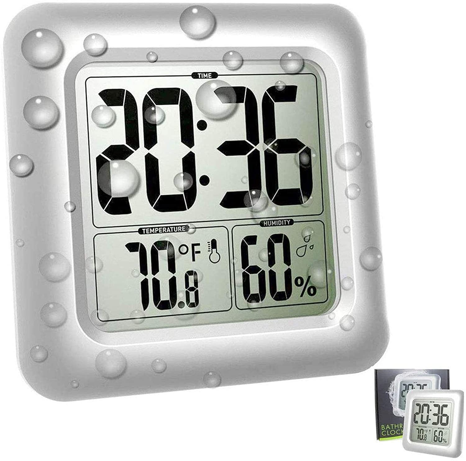 Amazon Com Large Waterproof Bathroom Wall Clock Big Water Resistant Hanging Shower Clock For Bath Countertop Moisture Proof Temperature Humidity Meter Suction Cup Shatterproof Glass Kitchen Dining