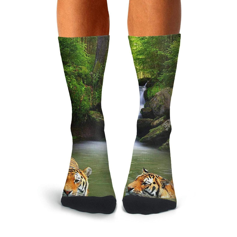 KCOSSH Tigers In Waterfall Crazy Calf Socks Athletic Crew Sock For Men Knee High Long Stockings