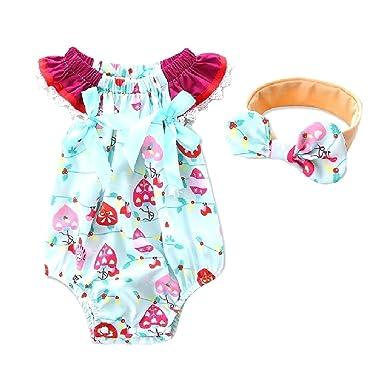 0a9e3d945d1b Tootlessly Girls Kids Organic Cotton Bowknot Romper Lace Bodysuit Jumpsuit  Light Blue 100  Amazon.co.uk  Clothing