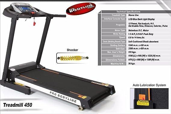 Buy Pro Bodyline Motorised Treadmill With Hydraulic