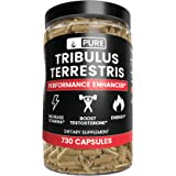 100% Pure Tribulus Terrestris, 1 Year Supply, 730 Capsules, No Stearate or Rice Filler, 45% Steroidal Saponins, USA-Made, Non