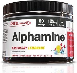 PEScience Alphamine, Raspberry Lemonade, 60 Scoops, Thermogenic Energy Powder with L-Carnitine