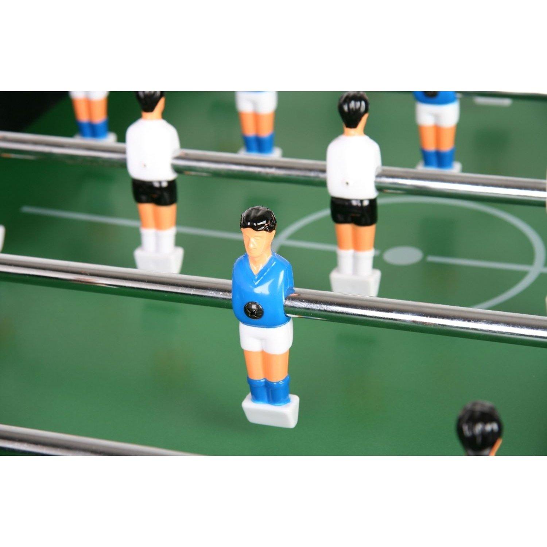 baby-foot Maxstore kicker pieds réglables en hauteur terrains de jeux en hauteur 2 porte-gobelets kicker Baby-foot Glasgow en hêtre avec set daccessoires