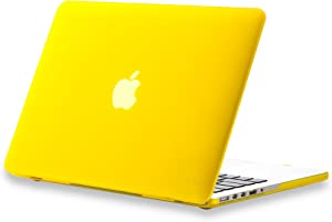Kuzy - Older Version MacBook Pro 13.3 inch Case (Release 2015-2012) Rubberized Hard Cover for Model A1502 A1425 with Retina Display Shell Plastic - Yellow