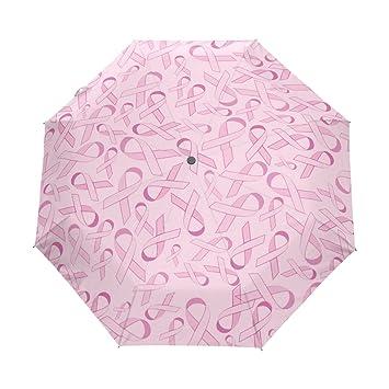 yoshop Auto plegable paraguas, Campaña contra el cáncer de mama rosa cinta automático resistente al