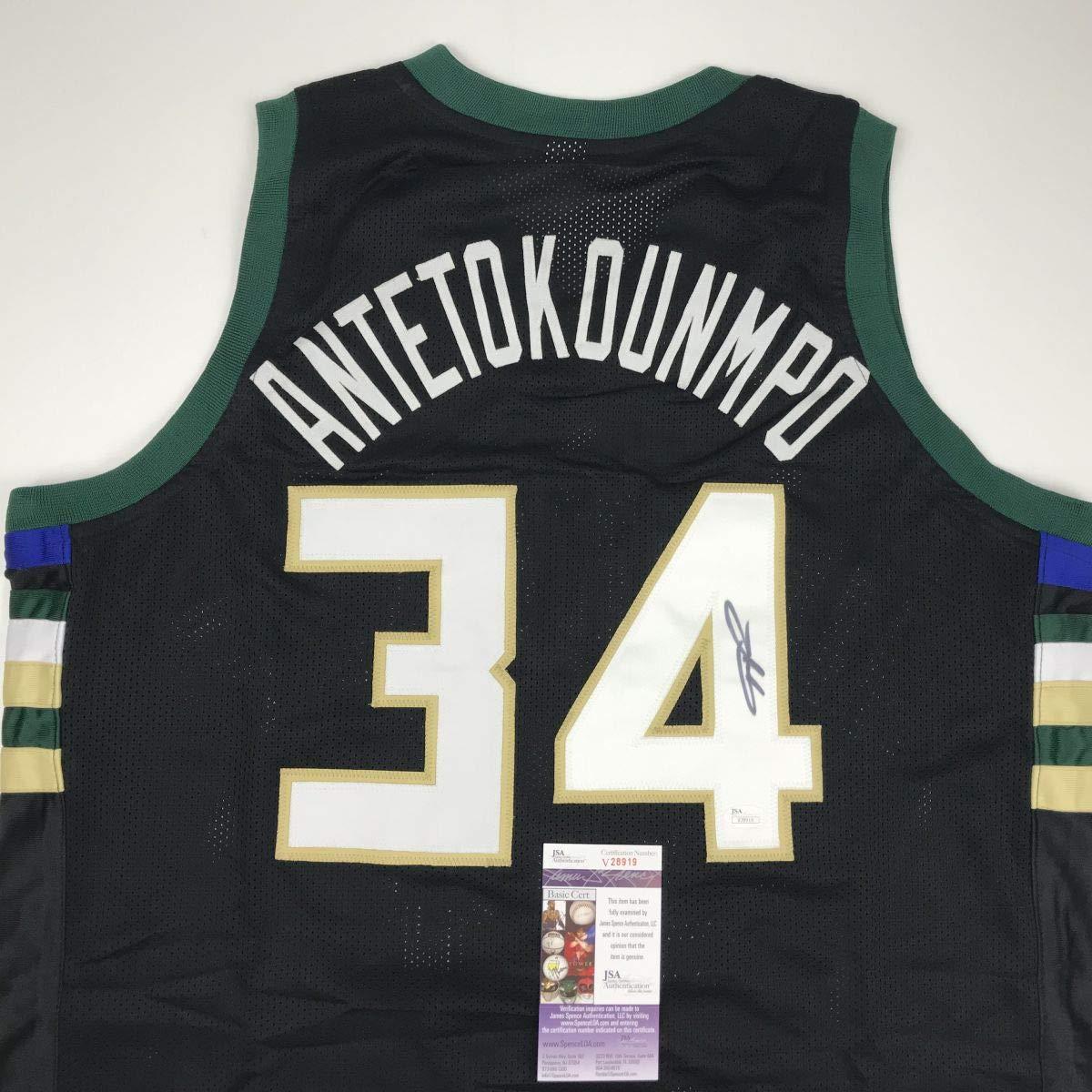 f2ef09949 Autographed Signed Giannis Antetokounmpo Milwaukee Black Custom Basketball Jersey  JSA COA
